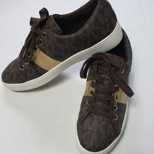 Michael Kors Lace Up Sneakers- Brown MK Logo Shoes